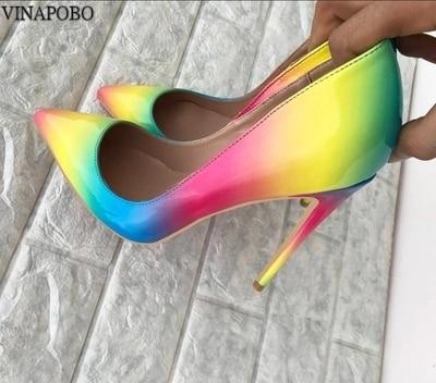 Vinapobo Fashion Sexy Stiletto Pumps 2019 Rainbow So Kate Zapatos Mujer 8cm 12cm High Heels Pumps