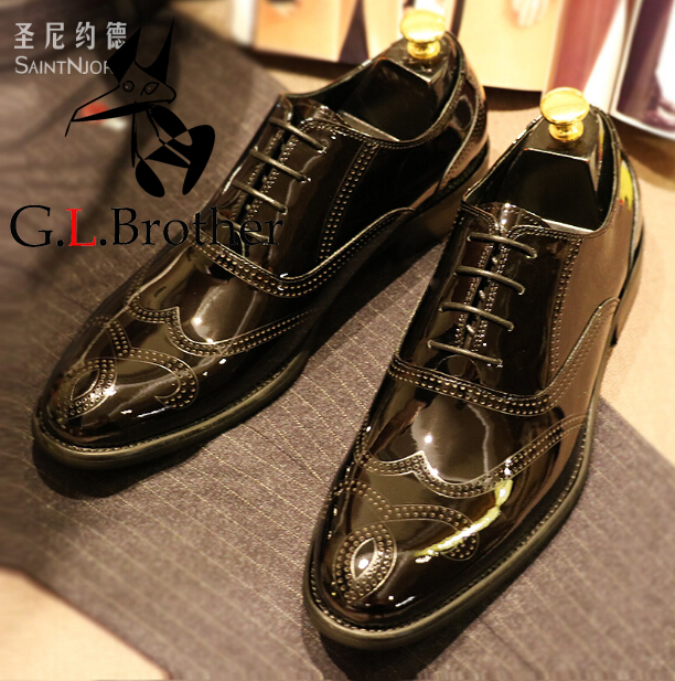 Italian Black Bullock Carved Oxford Shoes British Style Men's Wedding Dress Shoes Formal Business Bright Leather Shoes Oxford oxford borboniqua oxford