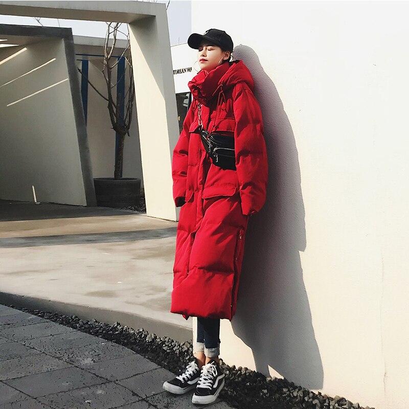 Зимняя длинная куртка для женщин с высоким воротником и капюшоном, большой карман, Толстая теплая Женская парка, Дамское пальто, большие раз... - 2