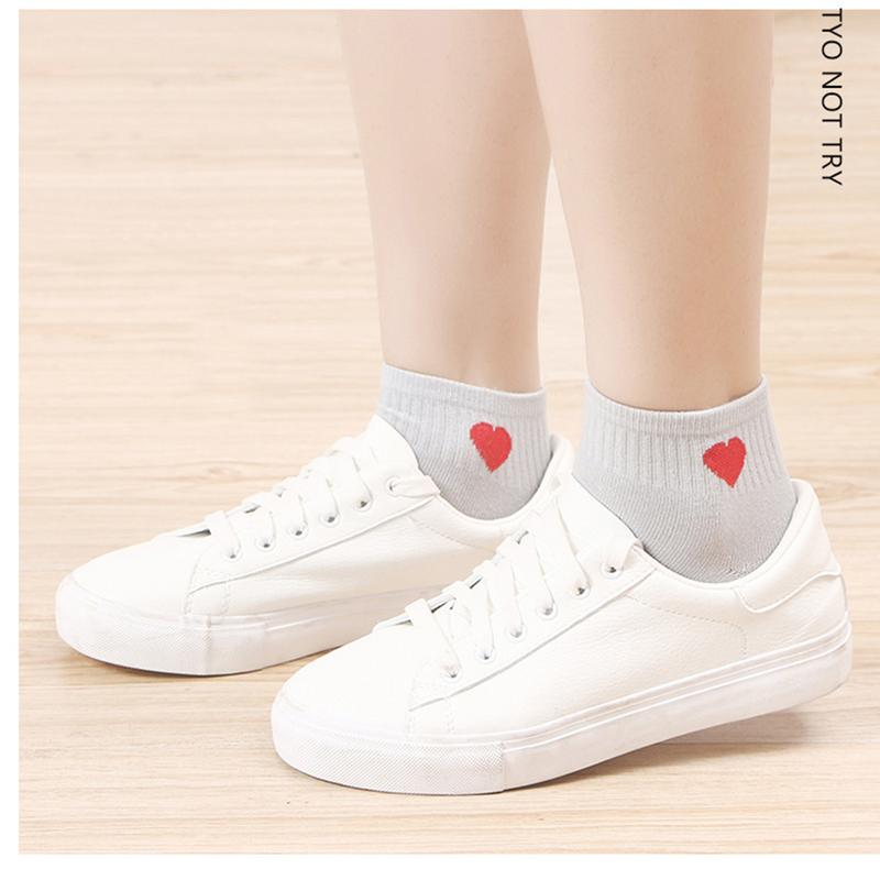 1 Pair New Kawaii Cute   Socks   Women Red Heart Pattern Soft Breathable Cotton   Socks   Ankle-High Casual Comfy   Socks   Fashion Style