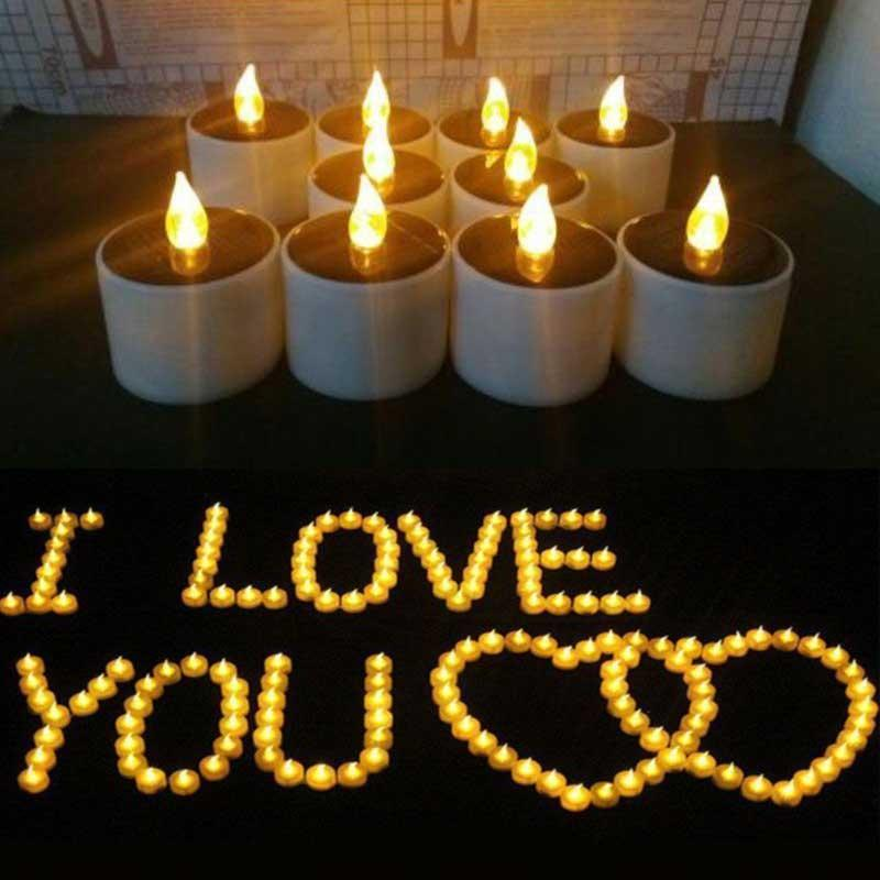 6 Pcs Outdoor Solar Candles Realistic LED Bright Flameless Tea Lights for Birthday Camping Wedding Window Home Decor