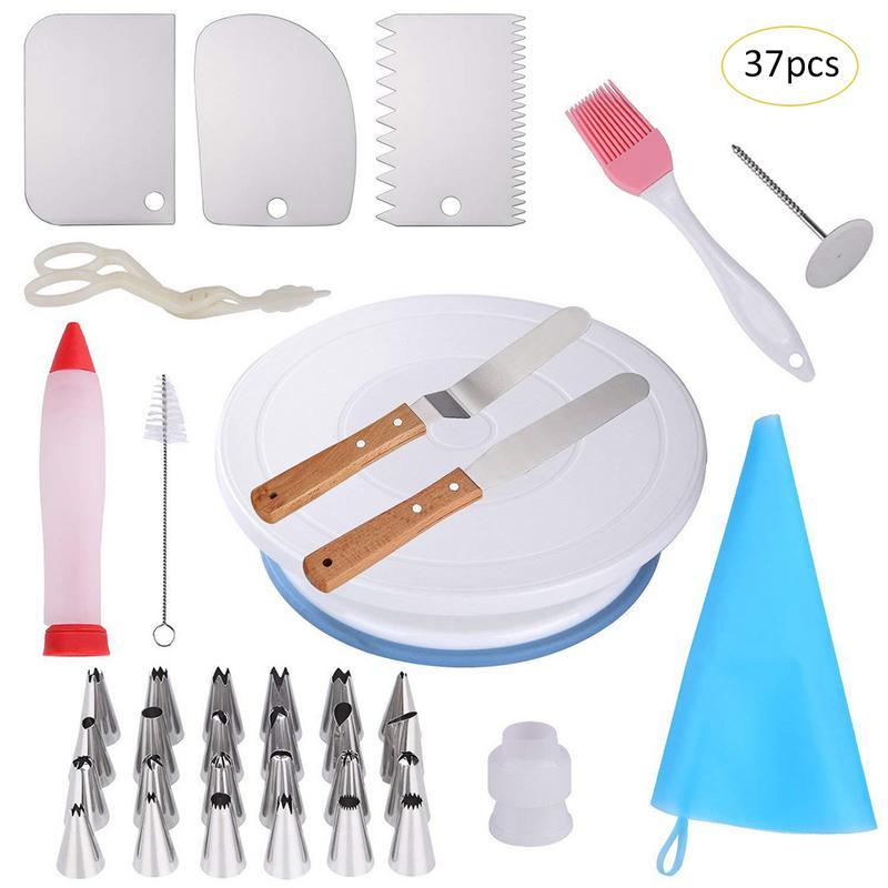 37 pçs conjunto bolo decoração suprimentos turntable tubulação ponta bico saco de pastelaria diy ferramenta de cozimento plástico ferramentas de decoração do bolo