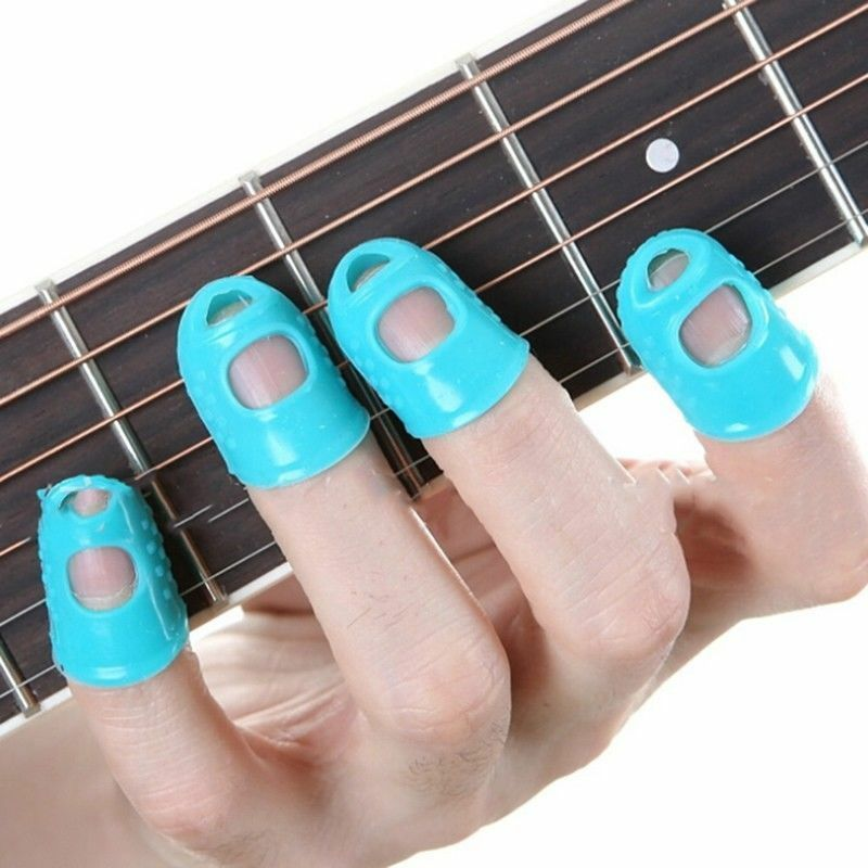 4Pcs/Set Guitar String Finger Guard Fingertip Protector Silicone Left Hand Finger Protection Press Guitar Accessories L