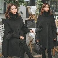 New Fashion Women's Winter Warm Woolen Hoodie Cloak Solid Black/Red Fur Wool Cape Outerwear