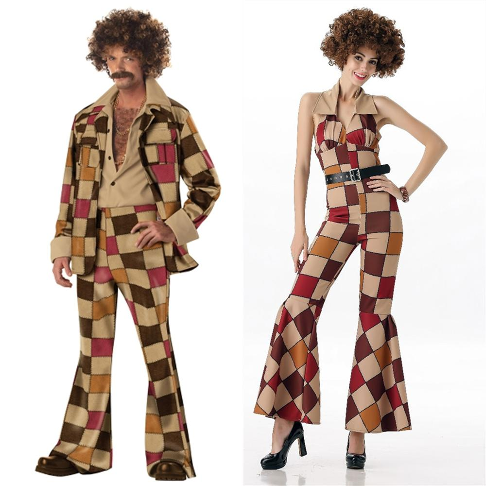 70s Womens Mens Disco Leisure Suit Costume Couple Carnival Party Fancy Dress Halloween Costumes