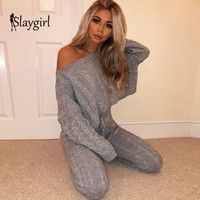 Slaygirl 2 Piece Set Women Sweaters Suit Sexy Sweater Pants Tracksuits Woman Knitted Casual Trousers Tops Women Clothing Set