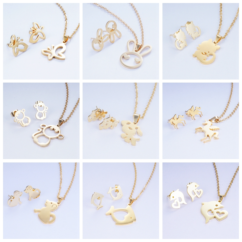 Yunkingdom Necklace Earrings Jewelry-Sets Stainless-Steel Pendant Fashion-Design Dolphin