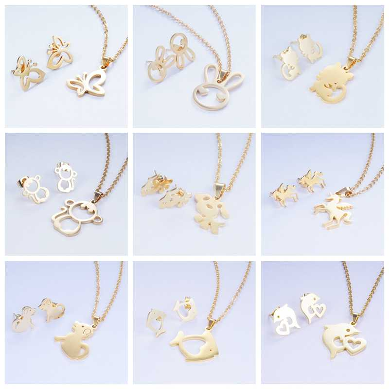 Yunkingdom 15 Cute Fashion Design Animal Cat Fish Dolphin Stainless Steel Jewelry Sets Pendant Necklace Earrings for Women