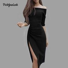 PickyourLook Womens Off Shoulder Split Bodycon Dress Ladies Half Sleeve Evening Clubwear Dress Ladies Strapless Midi Party Dress