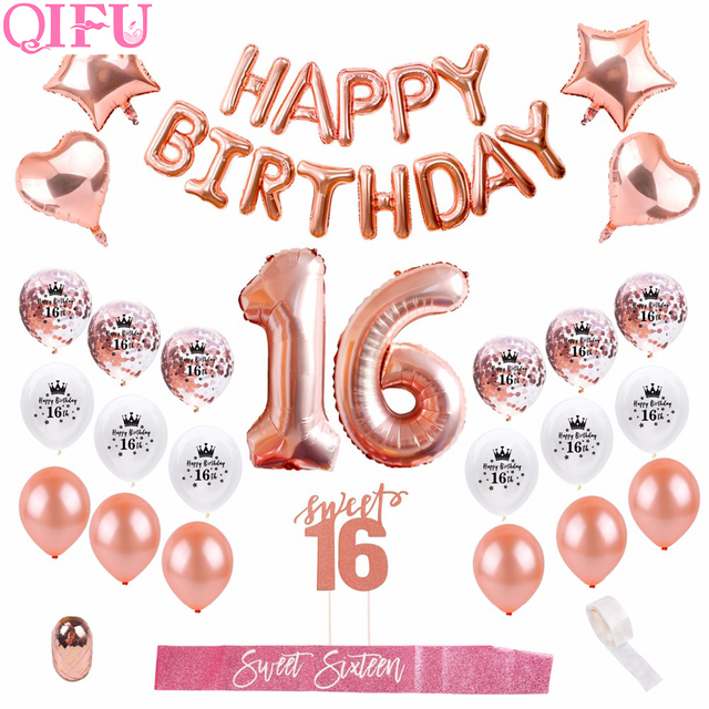 QIFU Happy Birthday Party Decorations Kids Adult 16th Balloons Sweet 16