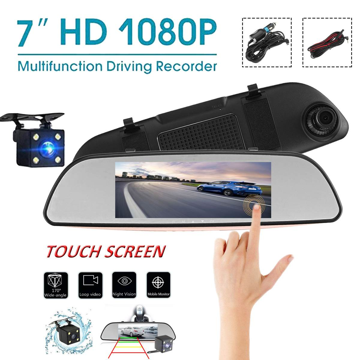 Mirror Camera Video-Recorder Dash-Cam Auto-Truck Dual-Lens Blue Reversing 7inch Touchscreen