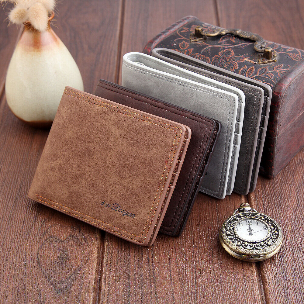 2019 HOT Men's Fashion Matte Wallet PU Leather Double Fold Short Card Package