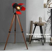 Artpad American Loft Rustic Vintage Floor Lamps for Living Room Office Study Lighting Black Red LED Wood Industrial Floor Lamp