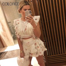 COLOREE Summer Sweet Women Two Piece Of Sets Printed Embroidery Hollow Out Sexy Cotton Top + Shorts Vacation Beach Suits(China)