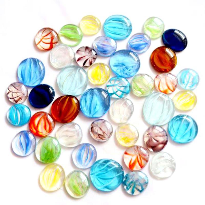 Mosaic Tiles 100 Glass Pebbles Blue Marble Mix Nuggets Stones