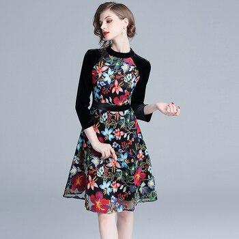 Vestido Negro Bordado De Flores De Terciopelo Retro 2019