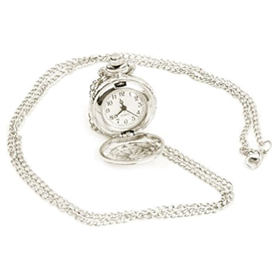 Silver Plated Pendant Watch Chain Clock Quartz Watch As Necklace Pocket Watch New
