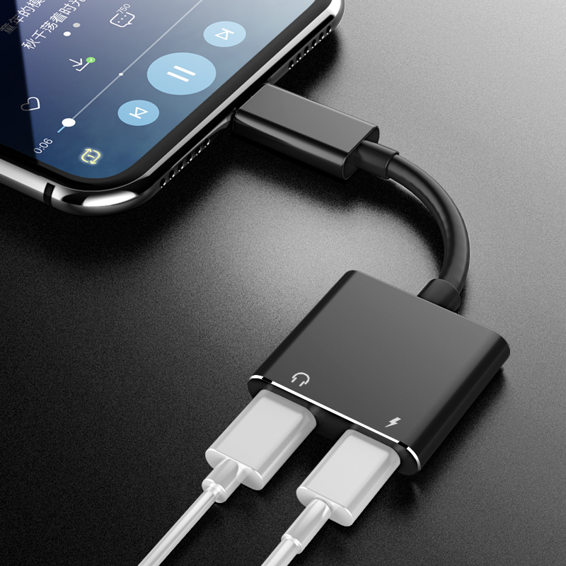 IHaitun 2in1 Cable Adapter For IPhone XS MAX XR X 7 8 Plus Splitter Converter Charger Audio Earphone Adapter Headphone Charging