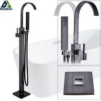 Free Standing Bathtub Faucet Tub Filler Black Bronze Floor Mount Bathtub Mixer Tap Single Handle Bathroom Tub Faucet Tap