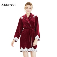 Autumn / Winter Patchwork Lace Robe Velvet Ladies Long Sleeve Wedding Bath Robe Bride Pajama Peignoir Femme Dressing Gown
