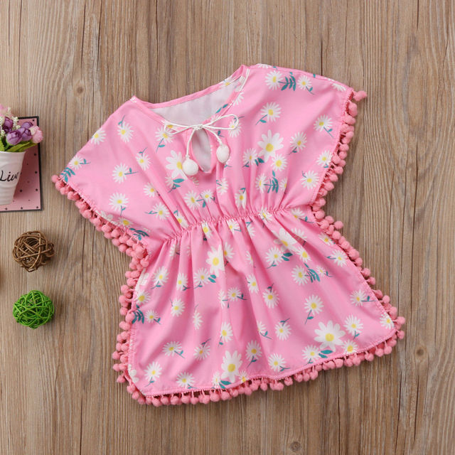 d69ea40743 Cute Kid Beach Dress 2019 New Summer Baby Girl Dress Beach Cover Up Sundress  Flower Fringe Dresses Yellow Pink Tassels Swim Wear