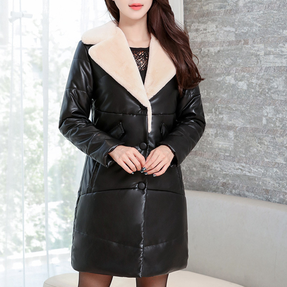 Autumn Winter Fur Pu Coat 2018   Leather   Clothing Girls Long Fund Wash PU Skin Mom Dress Han Edition Ma'am Down   Leather   Clothing