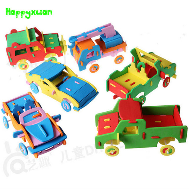Happyxuan 6 pieces/lot Cool Handmade 3D EVA Foam Puzzle Toy Racing Car Truck Vehicle Model Children DIY Craft Kits 3-6 years
