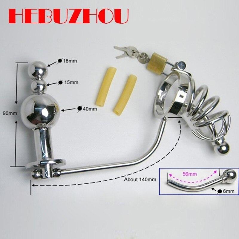 HEBUZHOU Plug Anal mâle ceinture de chasteté Cage à bite en acier inoxydable dispositif de chasteté godemichet Anal anneau de pénis