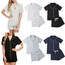 d0c4e4dd43 De moda conjunto de pijamas de verano las mujeres damas Casual de manga  corta Camiseta pantalones