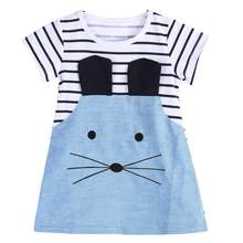 Girls Summer Dresses Baby Girl O-neck Short Sleeve Cartoon Mouse Patchwork Striped Denim Cute Mini Dress Kids Children Clothes(China)