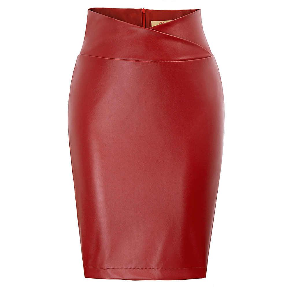 Femmes mode mince en cuir PU couleur unie jupe Midi automne hiver femme paquet hanche avant ou arrière fente jupe crayon grande taille