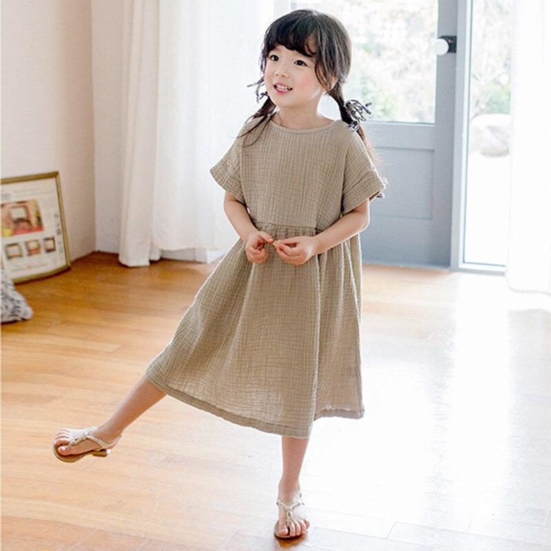 2020 verão grande menina vestido solto babados algodão de linho manga curta adolescentes vestidos casuais crianças roupas princesa