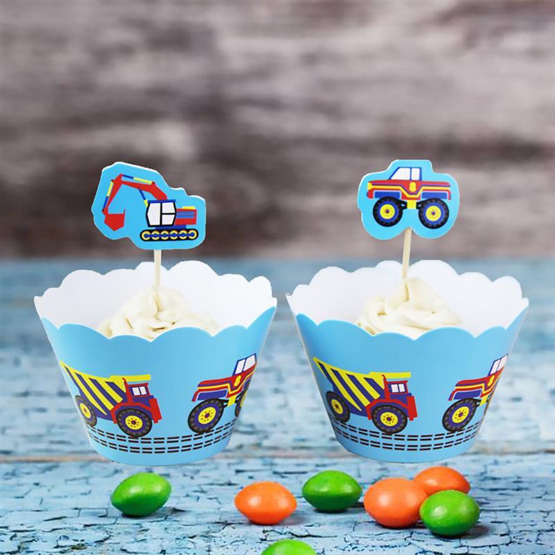 Leuk Cupcake Topper Wrapper Set 24 Pcs Bouw Voertuig Thema Party Cake Decor Verjaardag Cupcake Wrapper Vloeiende Circulatie En Pijn Stoppen