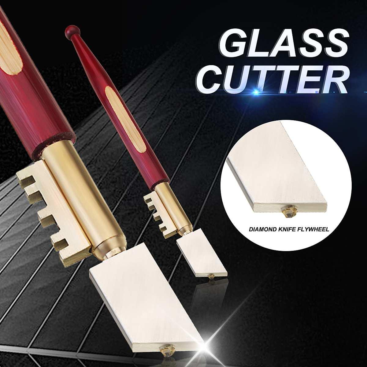 Doersupp Portable Glass Cutter Self-Lubricating Carbide Wheel Blade Diamond Tip Glass Cutter Knife Wooden Handle Tool