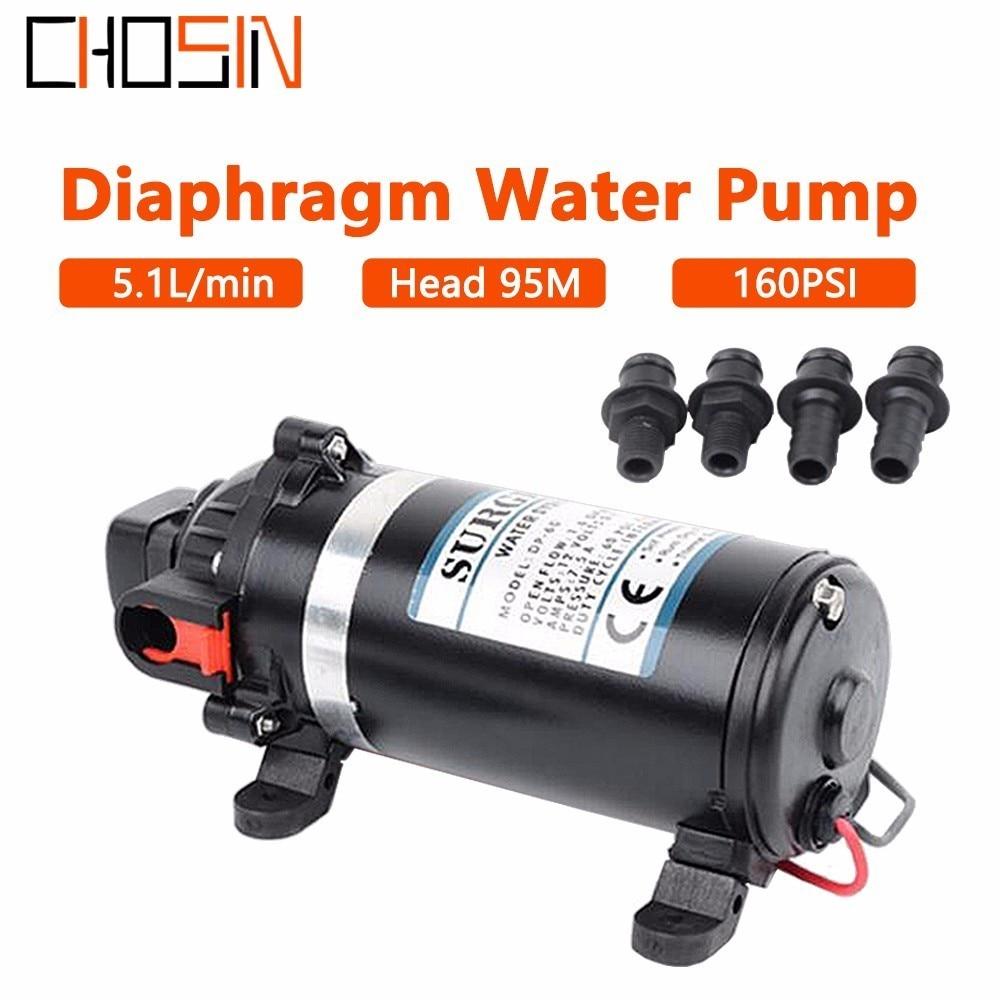 DP-160S 12 v 24 v Dc 126 w 9.5 m ascenseur 160psi 11bar Portable Miniature électrique haute pression pompe à membrane pompes à eau domestiques