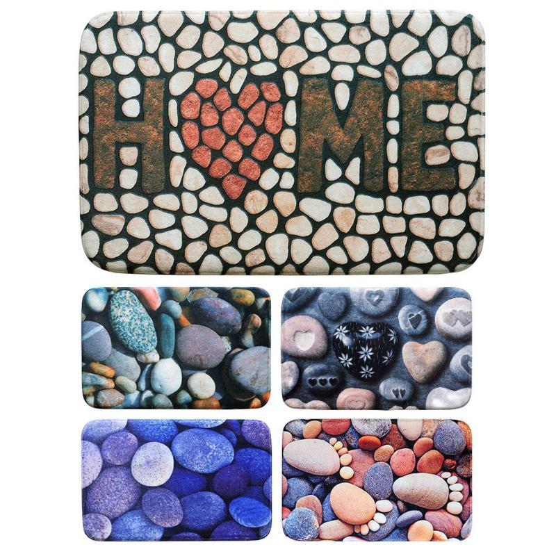 Non-Slip Pebble Printed Flannel Carpet Cobble Stone Rug Bedroom Soft Door Floor Mat Bath Pad Home Door 3D Colored Rugs Doormat