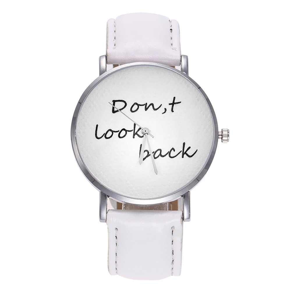 Women Wristwatches Round Dial Meaningful Letter Phrase Pattern Soft PU Band Wrist Watch Best Gift For Female