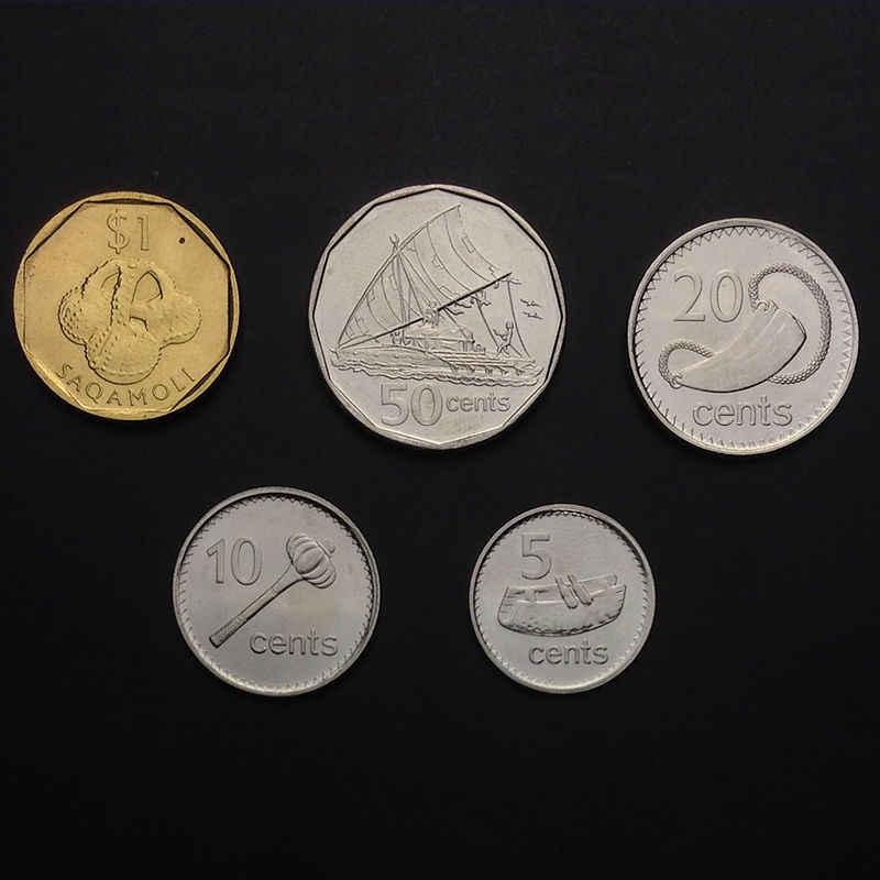 [F 3] Fiji набор Лот 5 монет 10 20 50 процентов 1 доллар 2009 2010 нераспространенный