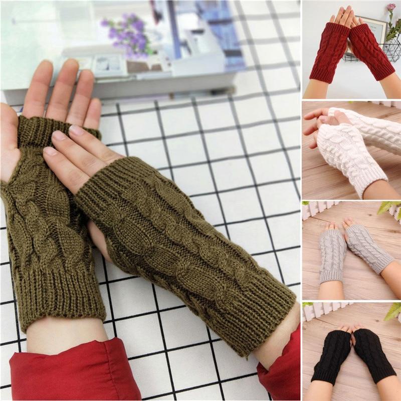 7 Colors Women Gloves Stylish Hand Warmer Winter Gloves Women Crochet Knitting Mitten Warm Fingerless Gloves