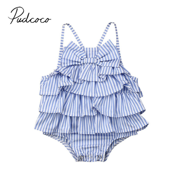 0d9c2d4f757d 2019 Children Summer Clothing One Piece Infant Kids Baby Girls Boys Striped  Bodysuits Sleeveless Blue Bowknot Ruffled Jumpsuits
