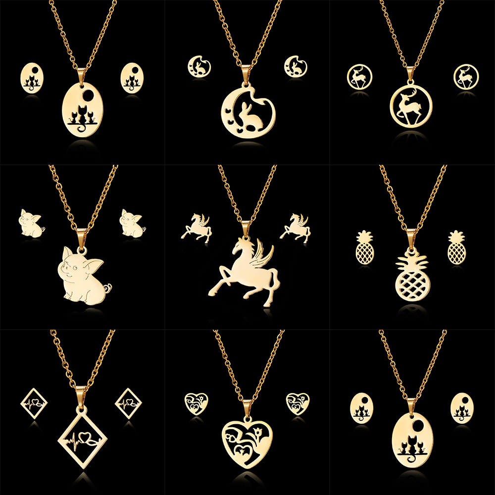 Knowledgeable Rinhoo Luxury 26 Letters Stainless Steel Gold Color Necklace Earrings Women Alfabet Initial Bridal Wedding Jewelry Sets Jewelry Sets Jewelry Sets & More