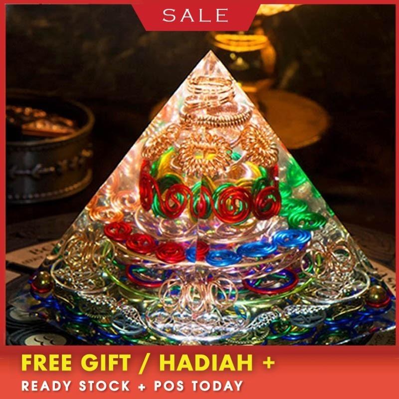 AURA REIKI Orgonite Pyramid Spiritual High Frequency Energy Tower Large Pyramid Energy Generator Resin Decorative Craft Jewelry