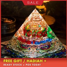 AURA REIKI Orgonite Pyramid Spiritual High Frequency Energy Tower Large Pyramid Energy Generator Resin Decorative Craft Jewelry