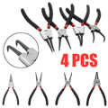 4pcs/set 7 Inch Internal External Curved Straight Pliers Retaining Clips Snap Ring Tip Circlip Pliers For Useful Hand Tool
