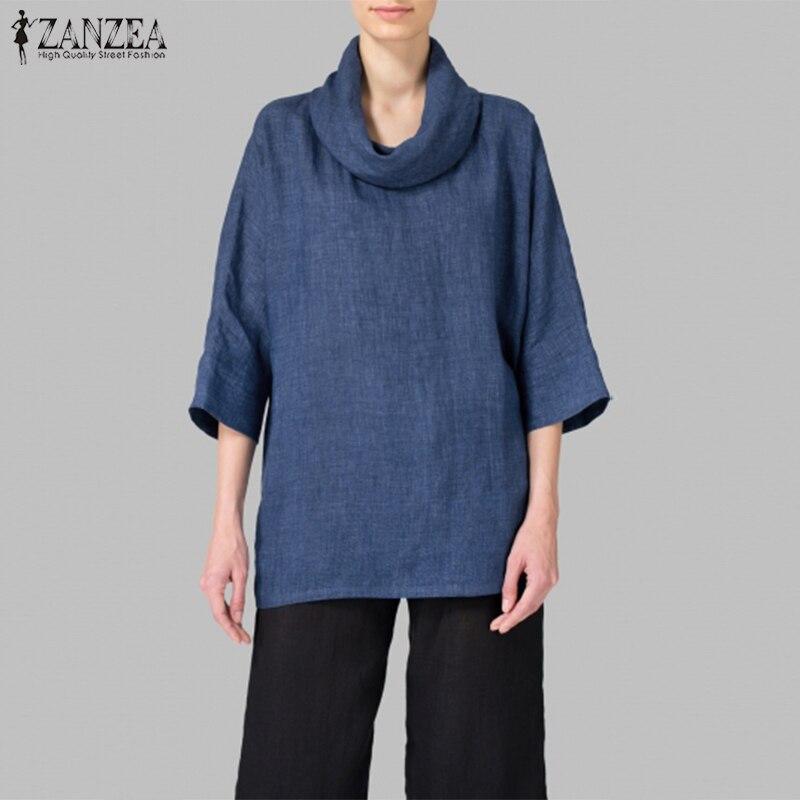 2019 Plus Size ZANZEA Spring Women Casual Solid Turtleneck Long Sleeve Loose   Blouse     Shirt   Autumn Vintage Baggy Work OL Top Femme