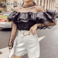 TWOTWINSTYLE Perspective Women's Blouse Long Sleeve Patchwork Ruffle Mesh Polka Dot Tops Female Autumn 2018 Korean Fashion