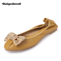 New Summer Spring Soft Flats Woman Shoes Light Weight Round Toe Casual Ballet Flats OL Bowknot Comfort Office Shoes