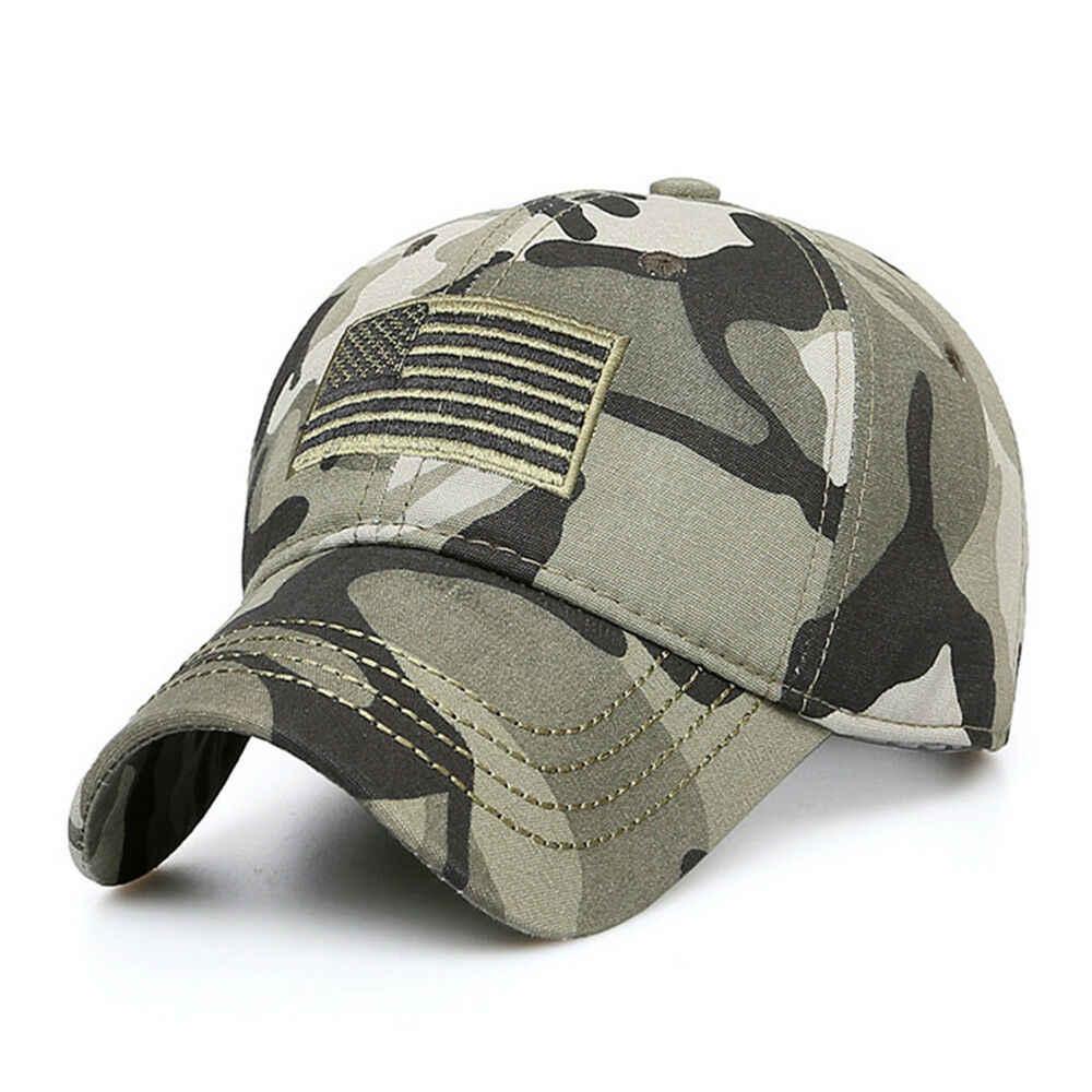 """גברים אופנה מקרית בייסבול כובע צבאי צבא Camo כובע בארה""""ב נהג משאית הסוואה חיצוני כובע שחור ירוק"""