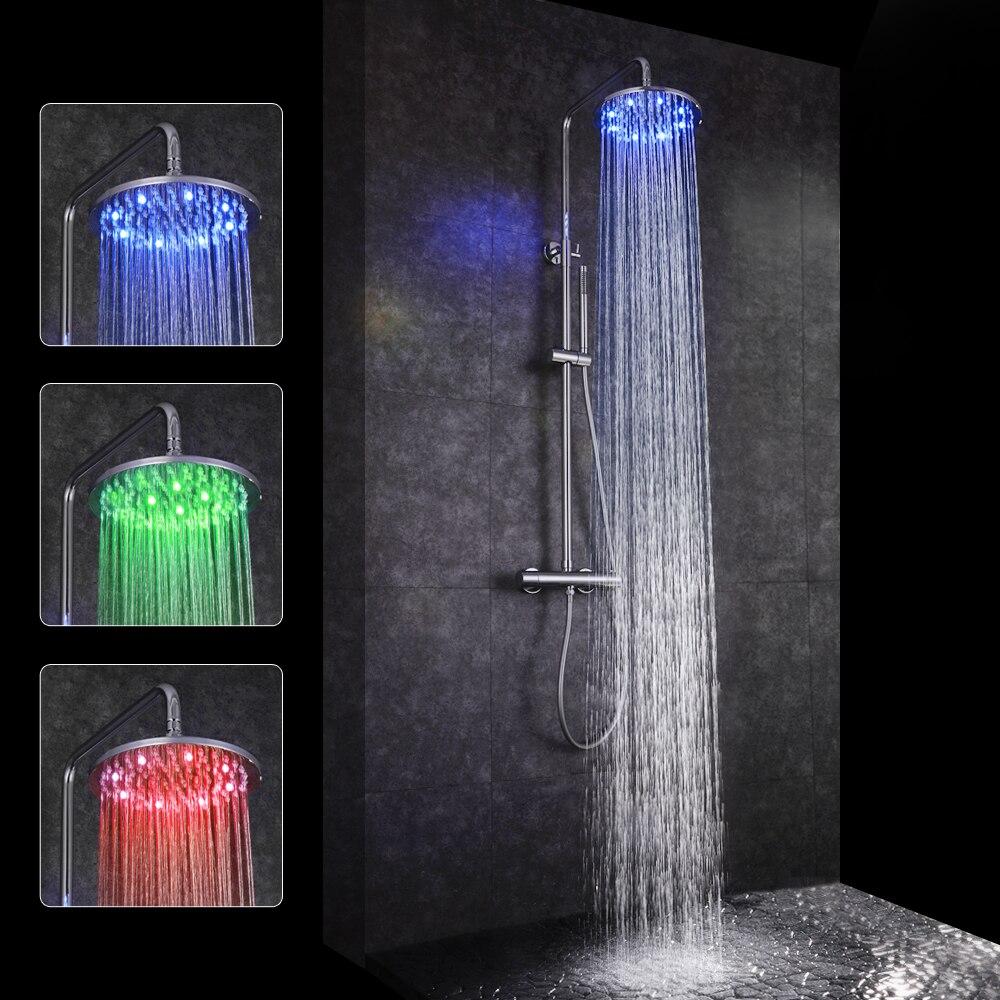 SKOWLL Banheiro Termostática Conjunto Torneira Do Chuveiro LED Head Chuveiro Rainfall Mixer