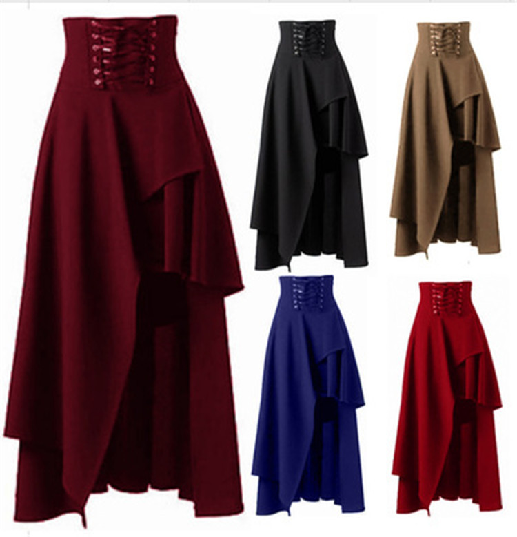 Steampunk Skirt For Women High Waist Solid Irregular Costume Party Shows Dance Skirts Plus Size Lace Up Cotton Clothing